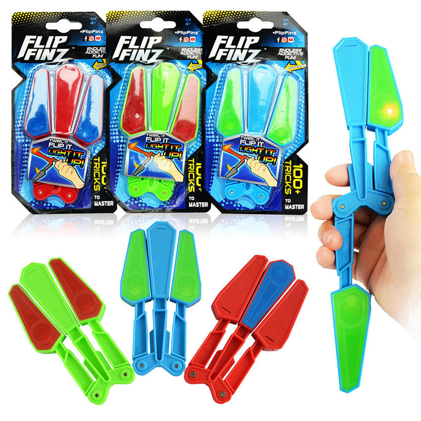 Children Flip Butterfly Knife Flipper Toys Master Light Up Finz Endless Addictive Fun Twirl It With LED Antistress Toy