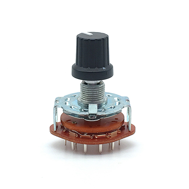 RS25 Shaft Panel Mount 1P12T Band Rotary Switch Selector 1 Pole 12 Position 20MM Plum Shaft With Switch Cap