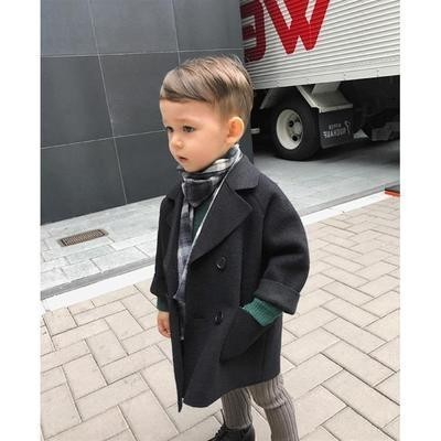 Winter Jackets Boys Solid Woolen Double-breasted Baby Boy Trench Coat Lapel 3 4 5 6 7 Y Kids Outerwear Coats For Boy Windbreaker Lahore