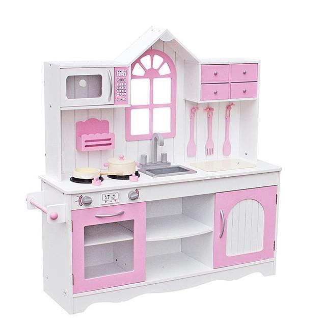 Kinder Holz Küche Spielzeug Kochen Pretend Play Set Kleinkind Spielset Mit  Geschirr Rosa