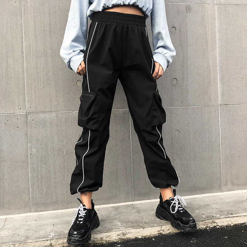 SUCHCUTE Harajuku Casual Black Cargo   Pants   Women Stripes Elastic High Waist   Pants     Capris   Streetwear Korean Sweatpants Joggers