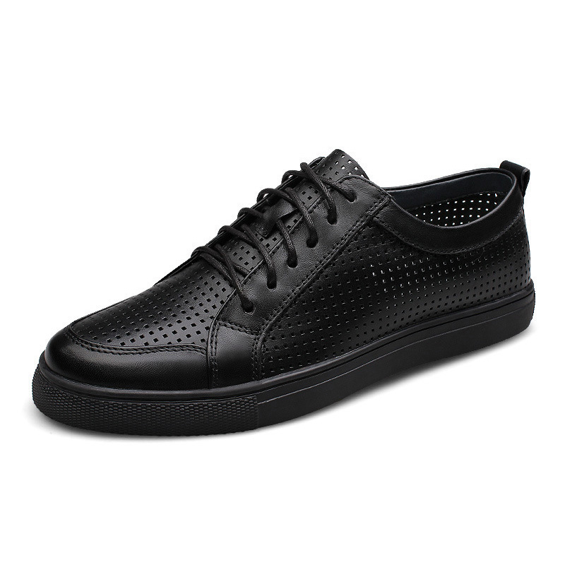 Genuine   leather   breathable men shoes cowhide casual men flat shoes fashion summer lace up footwear for men Big Size 47