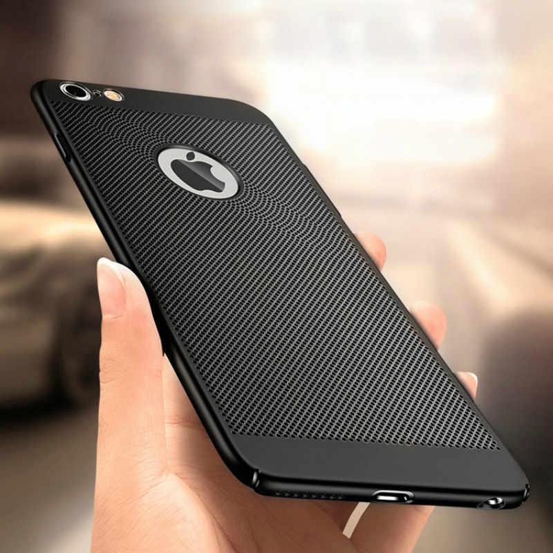 التنفس خزائن هاتف آيفون 8 7 6 6S زائد 11 برو ماكس التبريد البلاستيك الصلب غطاء آيفون X Xs ماكس Xr الحرارة تبديد