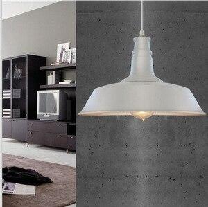 Image 3 - خمر قلادة أضواء الحديد المطاوع غطاء أسود/أبيض الصناعية مصابيح قلادة Loft الرجعية معلقة ضوء المصباح تركيبات