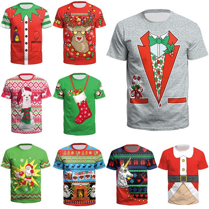 Unisex Christmas TShirts Teenager Boy Girls Men Women Xmas Stocking Elk Tees Short Sleeve O-neck Tops Santa Claus Tshirt 17Style