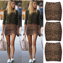 New Fashion Womens Leopard Printed Short Skirt High Waist Pencil Bodycon Hip Mini Skirt Soft Leopard Pencil Skirts(China)
