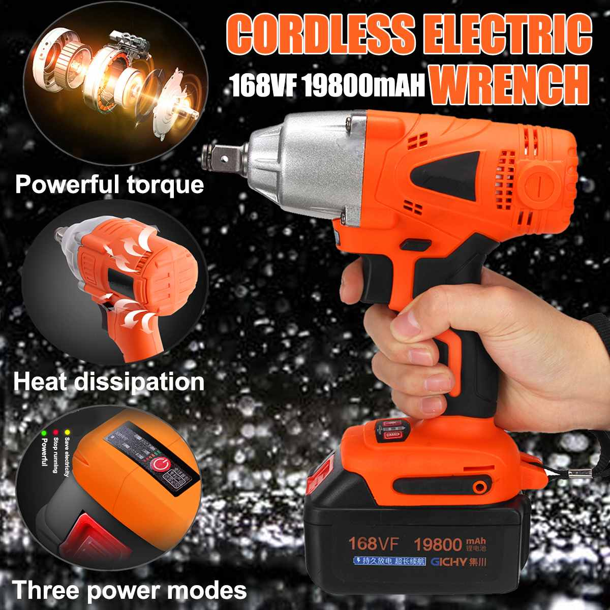168VF 19800mah 300NM Electric Brushless Cordless Wrench Impact Socket Rechargeable Battery Wrench Hand Drill Installation Tools168VF 19800mah 300NM Electric Brushless Cordless Wrench Impact Socket Rechargeable Battery Wrench Hand Drill Installation Tools