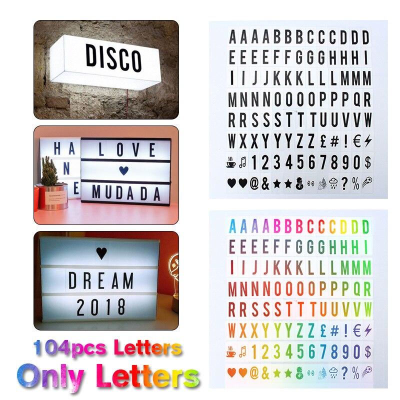 104 قطعة سينمائية ل صندوق الضوء الأسود رسائل تسجيل A4 استبدال رسائل أرقام علامات الأسود تضيء صندوق رسالة مجلس