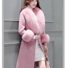 Elegant Solid Long Woolen Winter Coats Turn-Down Collar Slim Pockets Office Wool Coat Long Sleeve Fur Collar Ladies Coats