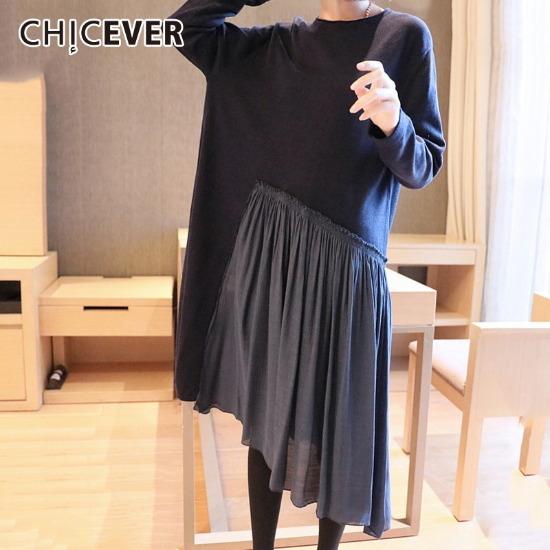 CHICEVER 2019 Spring Women's Dresses Female O Neck Long Sleeve Loose Irregular Hem Patchwork Pleated Dress Casual Clothes New