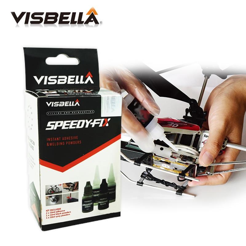 Visbella 7 seconde colle de fixation rapide pour métal acier plastique bois caoutchouc céramique renfort adhésif réparation ensemble d'outils à main