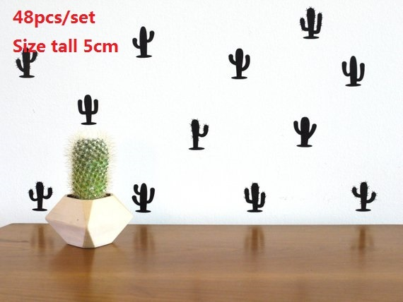 Us 4 26 39 Off Newest Colorful Cactus Wall Sticker Baby Nursery Stickers Children Removable Decals Home Decoration Art Vinyl In