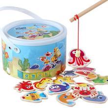 Деревянные детские игрушки, магнитные рыбные игрушки, набор, рыболовная игра, Детская образовательная разведка, развивающая игрушка для активного отдыха, детские подарки игрушки