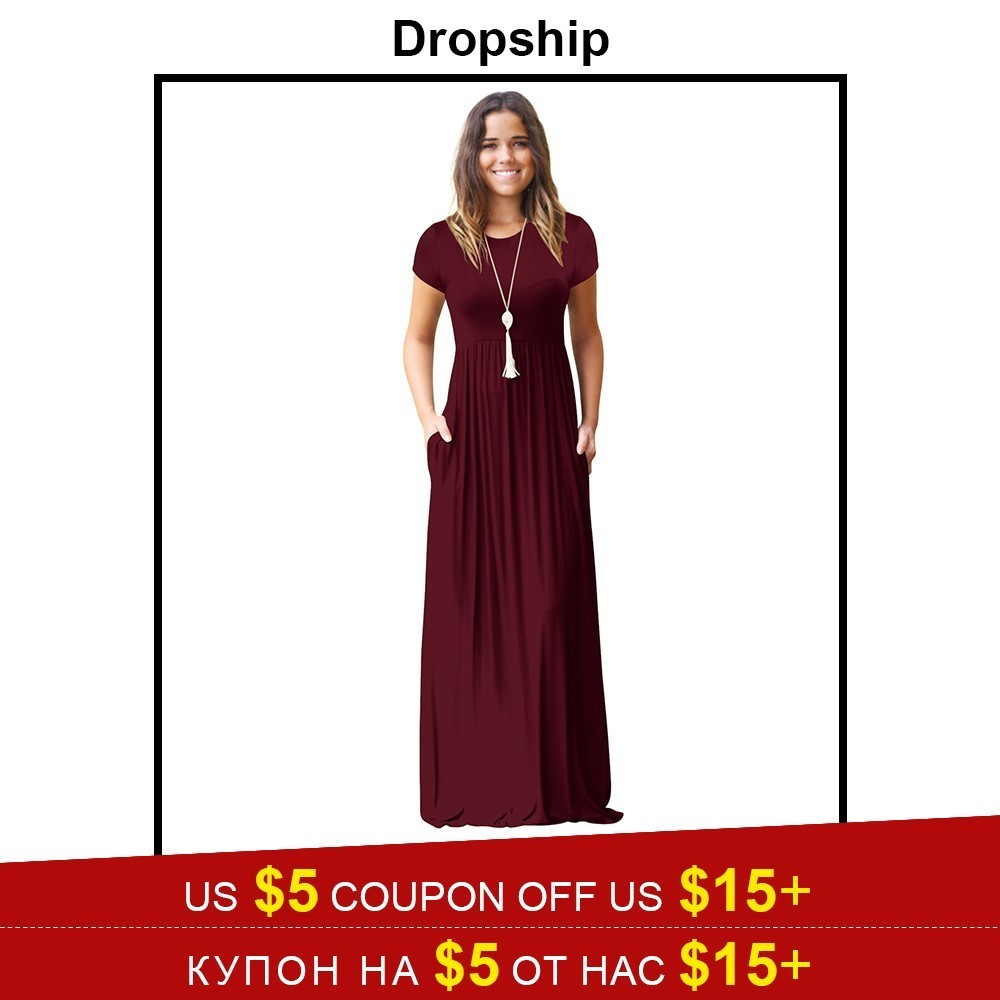 2423fe1520868 Dropship Dress Summer Vestido Maxis Women Dresses Long Plus Size Black Red Long  Sleeve Beach Boho