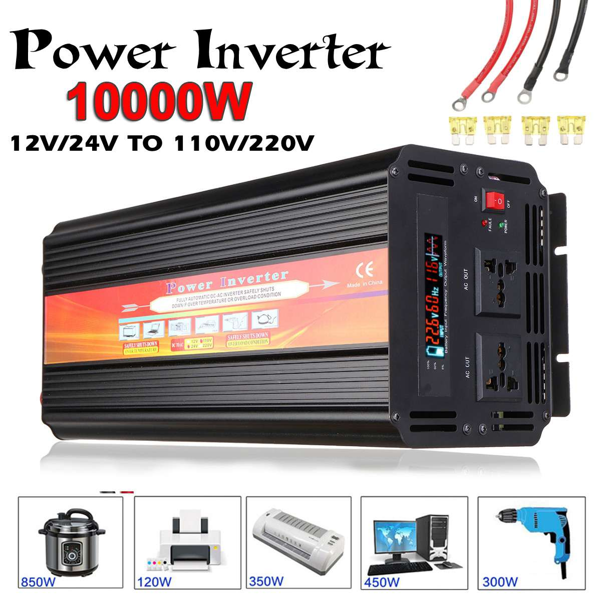 Inverter 12V 220V 6000W 10000W Pea k Power Inverter Voltage Converter Transformer DC 12V/24V To AC 110V/220V Solar Inversor 1pcs lot sh b17 50w 220v to 110v 110v to 220v
