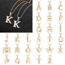 купить Fashion Trend Initial Alphabet A-Z Crystal Long Necklace For Women Shellhard Punk Rock Men Letter Pendant Silver Gold Chain Gift дешево