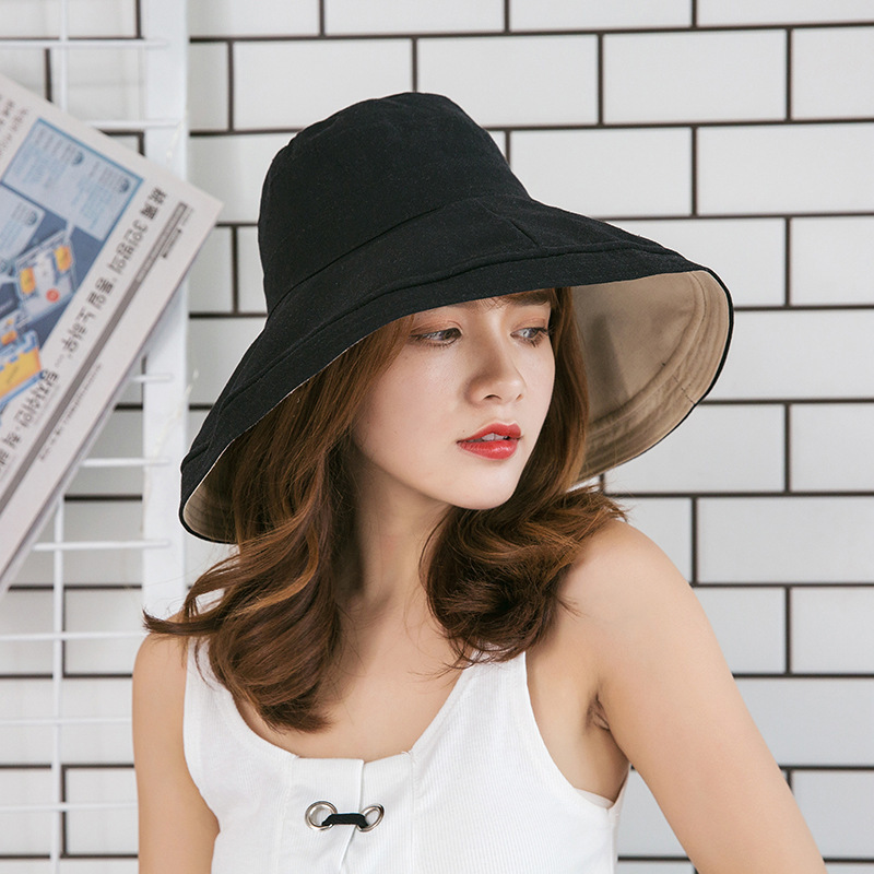 2019 Spring and Summer Big Head Plus Size Lady Sun Hats Women Outdoors Beach  Large Brim Fisherman Hats Lady Plain Bucket Hat-in Bucket Hats from Apparel  ... 2e0950e85f7