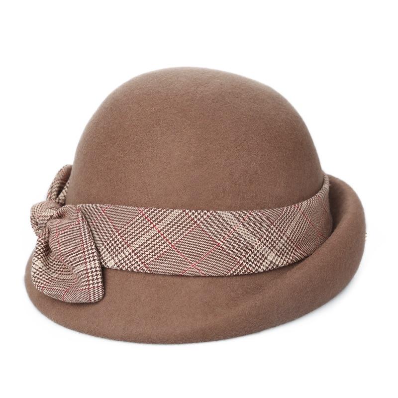 b5d8971f7e3d40 ... Lady Party Top Grade Pure Wool Felt Fedora Hat Women Autumn and Winter  Asymmetric Beret Cap ...