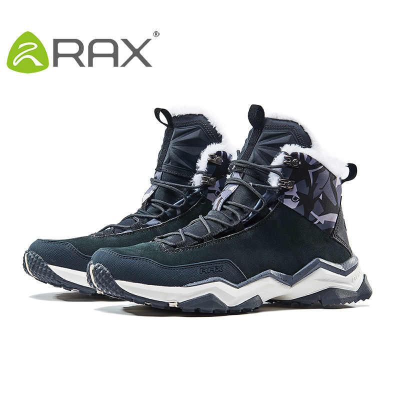 RAX مقاوم للماء حذاء للسير مسافات طويلة الرجال الشتاء في الهواء الطلق أحذية رياضية للرجال أحذية الثلوج أفخم الجبل سنوبوت السياحة في الهواء الطلق الركض الأحذية
