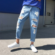 Summer Jeans Men Fashion Stretch Waist Casual Torn Hole Denim Pants Man Streetwear Hip Hop Loose Trousers Male Clothes M-2XL summer new fashion trend male retro printing mid waist loose casual denim pants stylish scratched skull hip hop jeans men