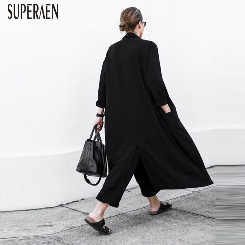 SuperAen Europe   Trench   Coat for Women Loose Pluz Size Female Windbreaker Spring New 2019 Solid Color Wild Casual Women Clothing