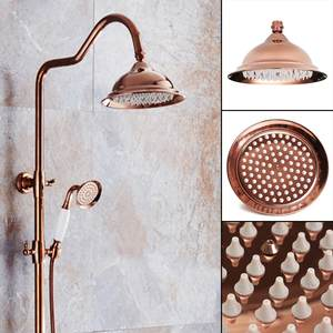 Shower-Head Bathroom-Product Rose-Gold Copper Vintage Home Round Antique New Red 8inch