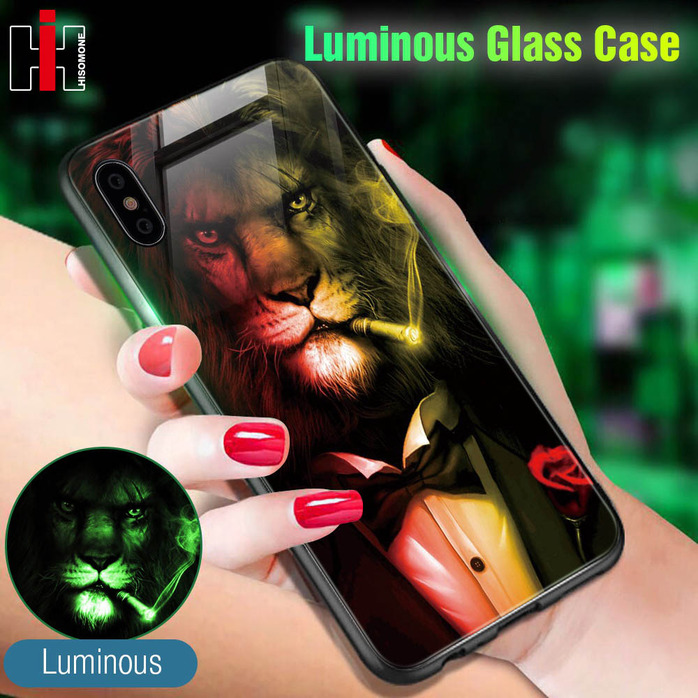 Hisomone Glass + Silicone Case For iPhone Xs Xs Max X Luxury Luminous Back Cover Case For iPhone 6 6S 7 8 Plus Pattern Coque