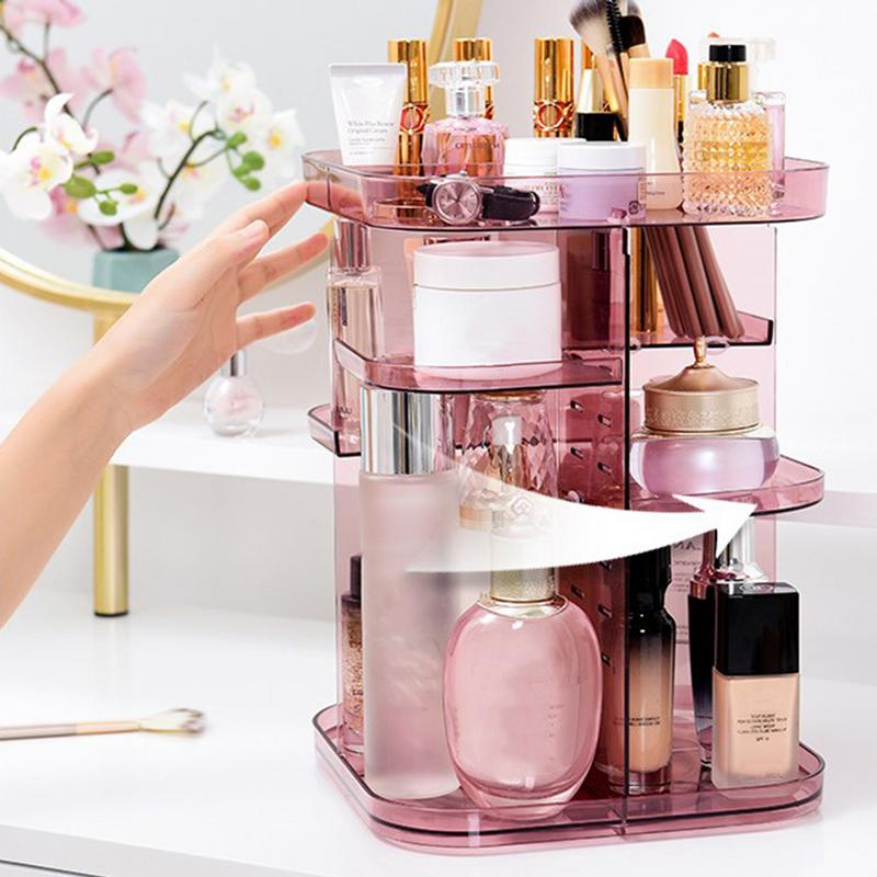 Square Rotating Cosmetic Storage Rack 360 Degree Cosmetic Frame Protection Storage Box Display Case Adjustable Makeup
