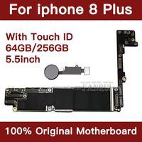 Para iphone 8 plus 256 gb placa-mãe com sistema de impressão digital ios  para iphone 8 plus placa lógica mainboard com chips