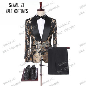 New 2019 Classic Golden Embroidery Men Suits For Groom Tuxedos Costume Homme Groomsmen Mens Wedding Prom Suits Best Man Blazer(China)