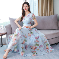 Women Summer Floral Print Dress Female Temperament Lady V neck Flowers Printed Long Chiffon Dresses M XXXL