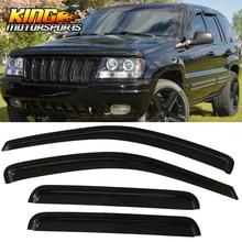 Fit For 99-04 Jeep Grand Cherokee Window Visors Acrylic Smoke Tinted 4Pc Set