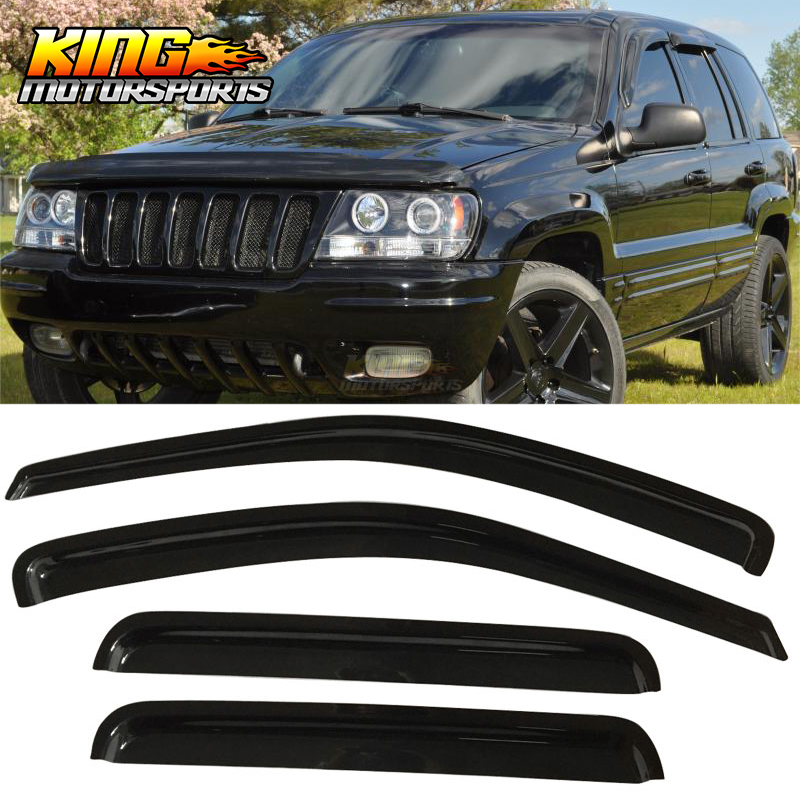 Fits 99 04 Jeep Grand Cherokee Window Visors Acrylic Smoke Tinted 4Pc Set|Awnings & Shelters| |  - title=