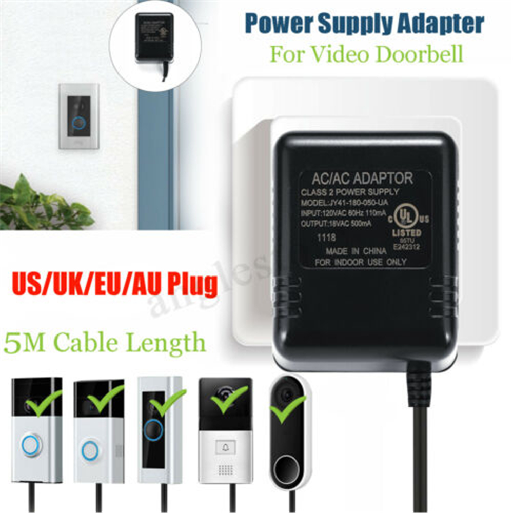 US EU UK Plug Ring Video Doorbell Adapter Power Supply Battery Charger Battery Adapter