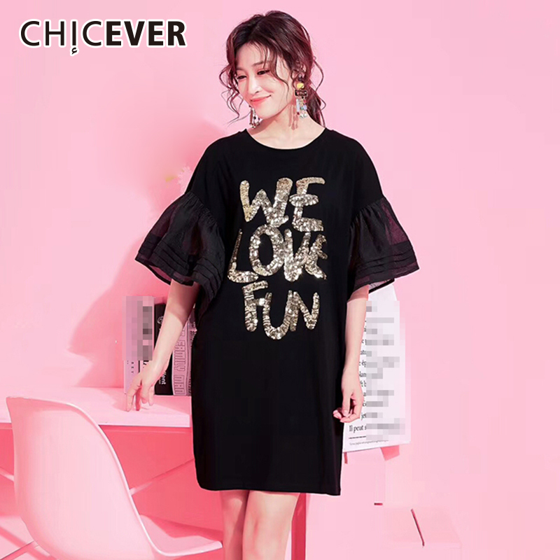CHICEVER Summer Women T Shirts Tops Sequins Letter Flare Sleeve Loose Big  Size Female T shirt dc8cf2a9bd53