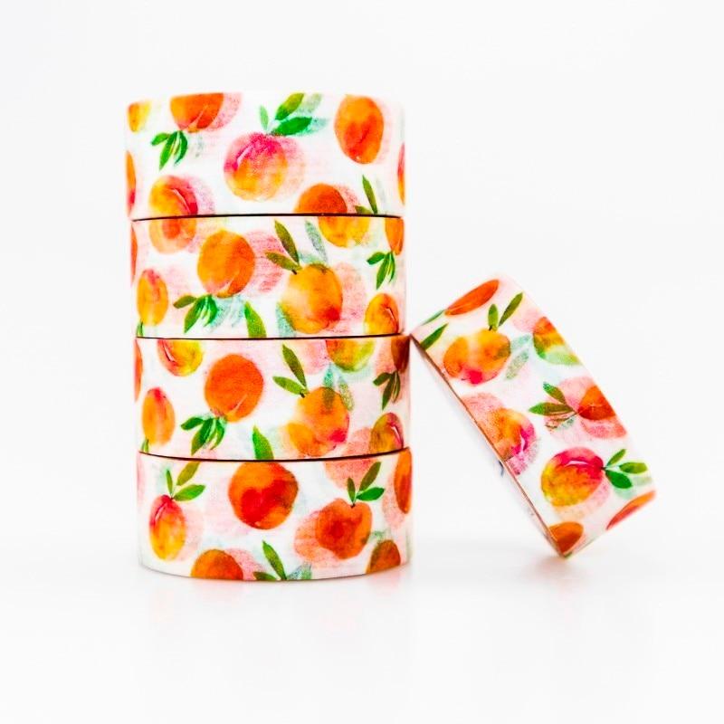 Peach Fruit Pattern Washi Masking Tape Sticky Color Decorative Tape Set DIY Decoration Office Stationery Scrapbook 1PCS