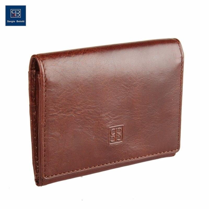 Business Card Holder Sergio Belotti 1295 Milano Brown short genuine leather cowhide men wallet business card coin money male purse card holder