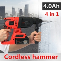 4 In 1 6.6Ah/4.0Ah Electric Impact Drill Rotary Hammer Brushless Motor Cordless Electric screwdriver+Electric hammer&Drill