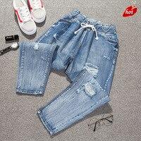 Autumn Jeans Women Fashion High Waist Loose Denim Jeans Trousers Boyfriend Jeans Women Calf Length Harem Pants Plus Size O8R2