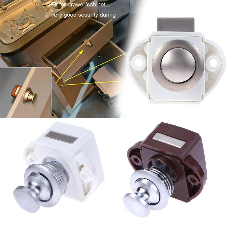 Car Furniture Hardware Camper Car Push Lock Keyless Push Button Locks Camper Car Lock RV Caravan Boat Cabinet Latch Button Lock