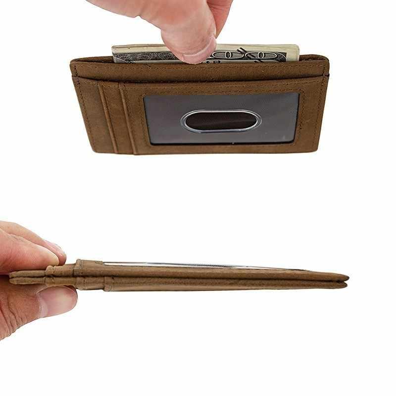 Тонкий минималистичный передний карман RFID блокирующие кожаные кошельки для мужчин и женщин среднего размера 739-60