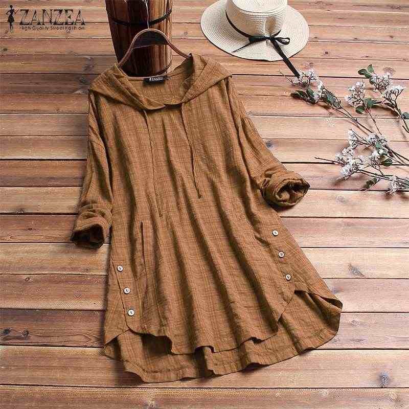 2019 Fashion Vrouwen Plaid Zakken Hooded Blouse Shirt ZANZEA Plus Size Dames Controleren Blusas Casual Losse Tuniek Tops Blusa Feminina