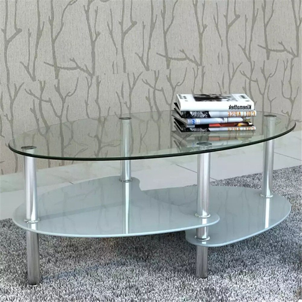 VidaXL Tempered Glass Coffee <font><b>Table</b></font> With Exclusive Design White 3-Layer <font><b>Cafe</b></font> Furniture Easy To Clean Unique Nightstand 240508 image