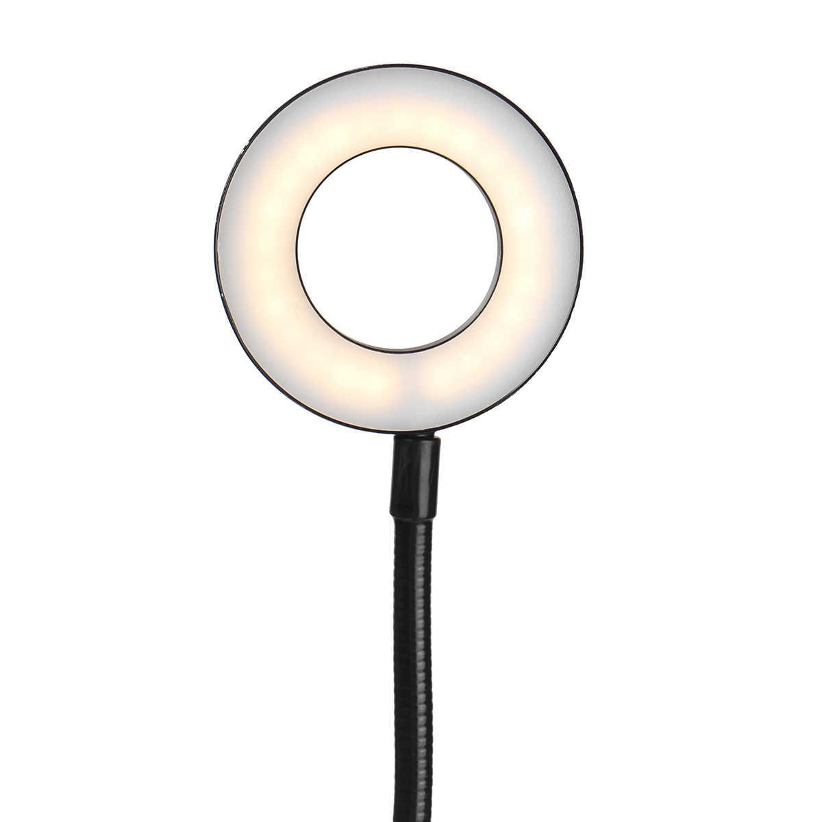 Гибкий Держатель для селфи с живым потоком, светодиодный светильник для камеры с регулируемой яркостью, настольный сотовый телефон, подставка с Двойным Зажимом, кронштейн для Facebook