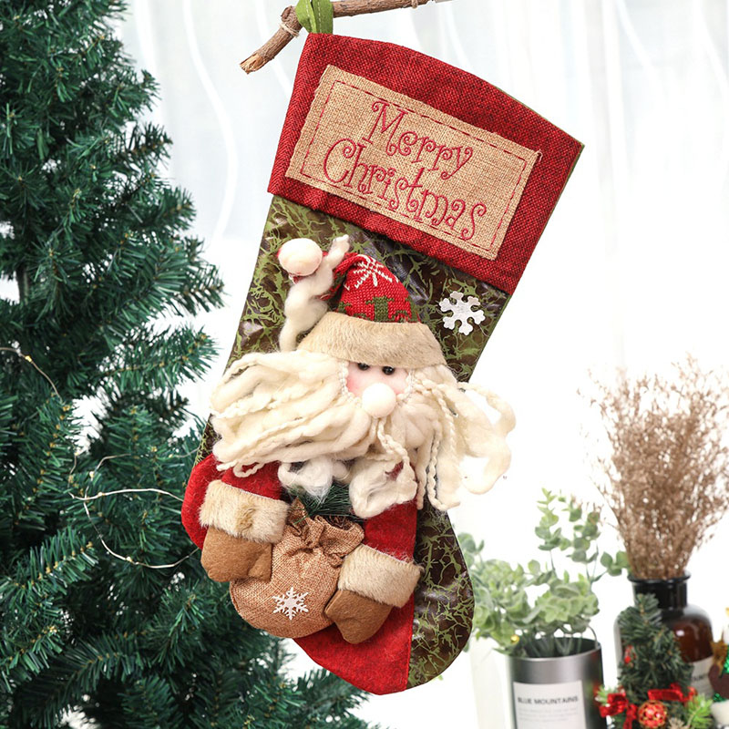 5 Pcs Lot Cartoon Style Santa Claus Snowman Elk Xmas Christmas Gift Bags Stockings Santa Sacks Winter Decorations for Tree 2018 in Stockings Gift Holders from Home Garden