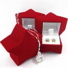 Star Shape Red Velvet Earrings Ring Boxes Wedding Jewelry Ring