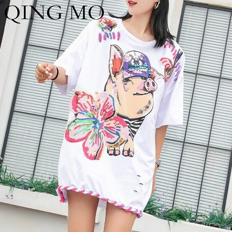 QING MO Sequin Flower T Shirt Women Cartoon Pig T Shirt Summer White Short Sleeve T-shirt Girls Tops with Rope Bottom ZLDM094