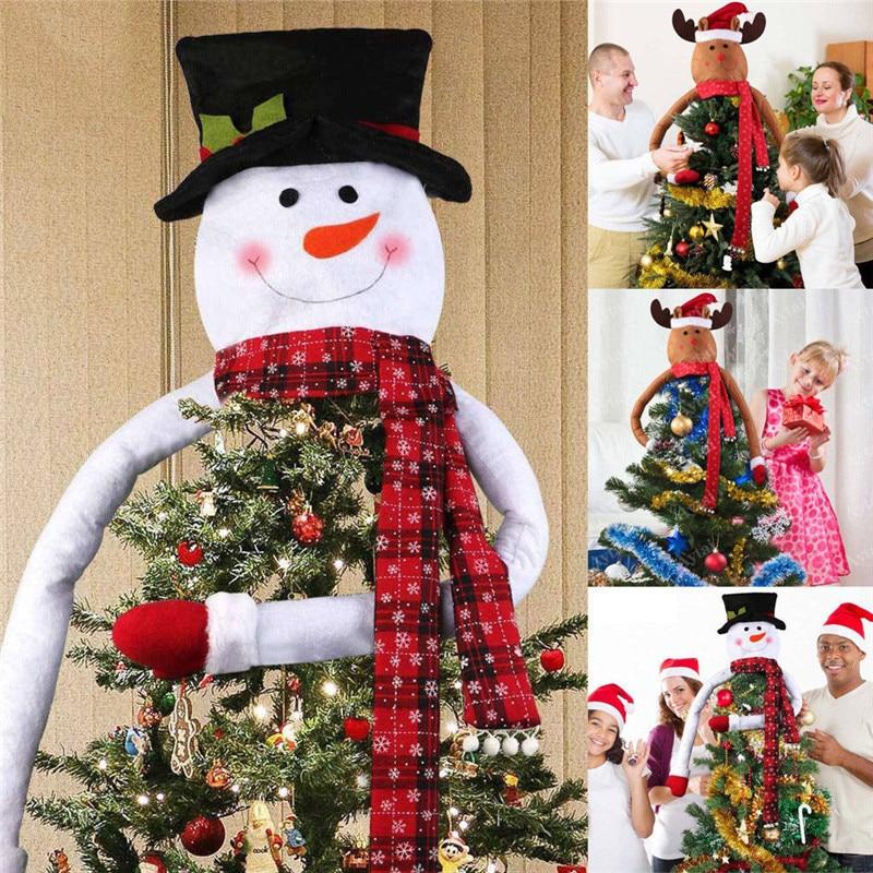 Christmas Tree Toppers Santa: Snowman Head Christmas Tree Topper Decoration Deer Santa