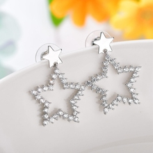 Classic Silver Star Drop Earrings 2019 New Arrival Top Quality Geometric Crystal for Women Jewelry Factory wholesale