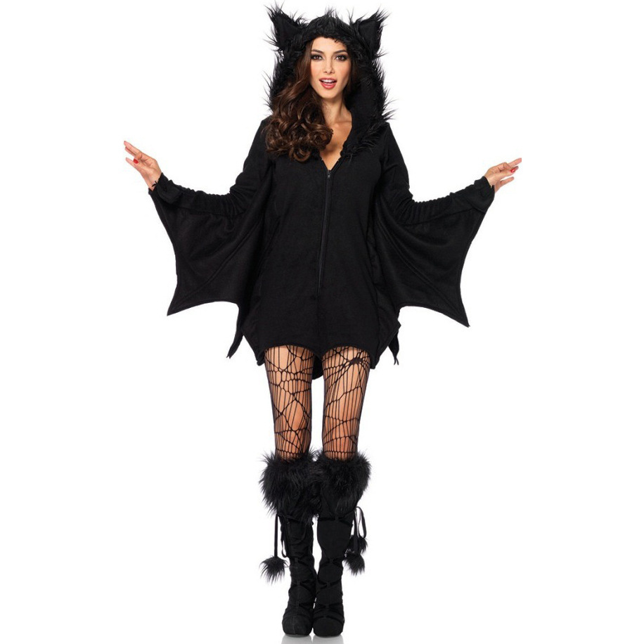 Large Animal Cosplay Fashion Womens Bat Costume Faux Fur Ear Cloak Romper With Zipper Halloween Vampire Demon Masquerade C007